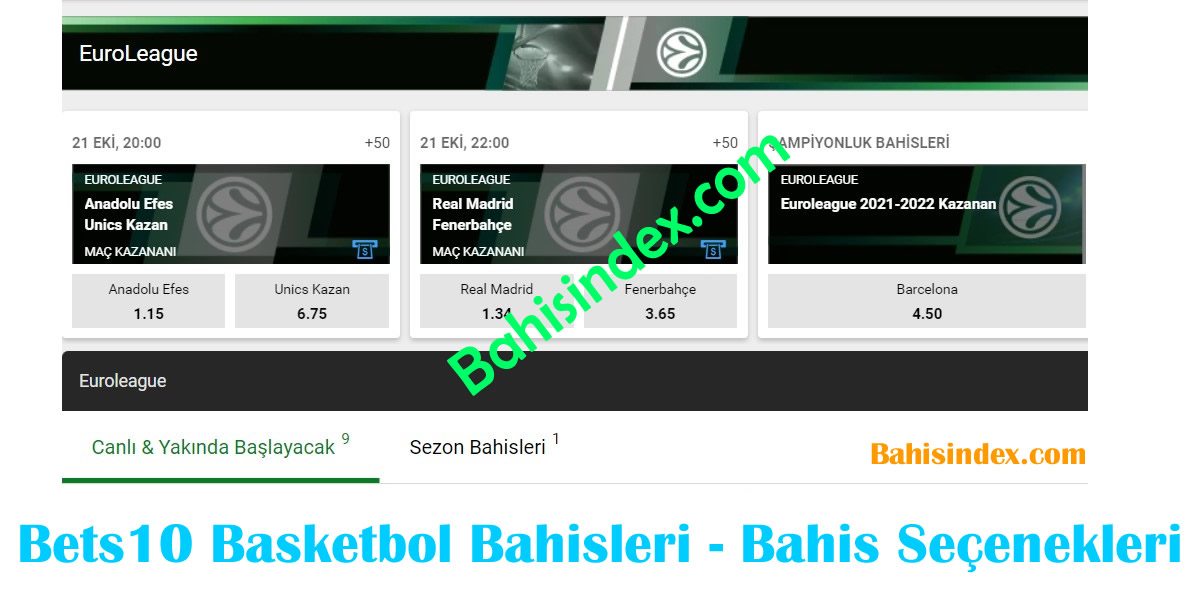 Bets10 Basketbol Bahisleri - Basketbol bahis seçenekleri