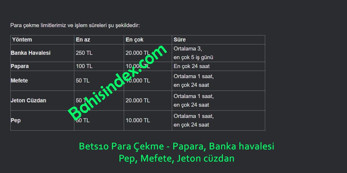 Bets10 Para Çekme - Papara, Mefete, Pep, Banka havalesi