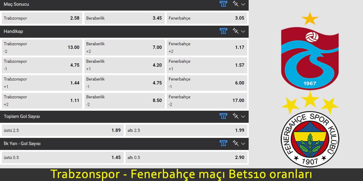 Trabzonspor - Fenerbahçe maçına yüksek oranlar Bets10 da!